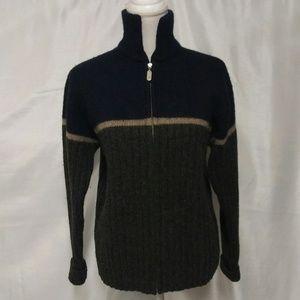 J. Crew Blue Gray 100% Wool Zipper Front Cardigan